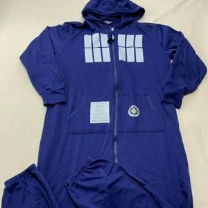 Dr Who One Piece Blue Tardis Hooded Pajamas Unisex